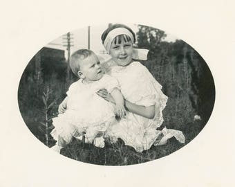 vintage photo 1910 Little Girl Holds Baby Summer White Cotton Lace Trim Dress