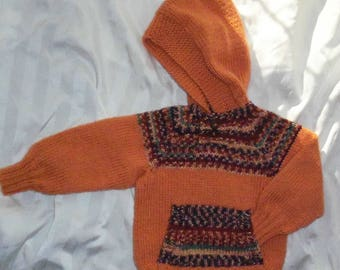 READY TO SHIP*** Pumpkin colored hoodie pullover with kangaroo pocket child size 2 - 4