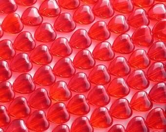 Heart Beads, 10 x 10 mm Red Heart Beads, Czech Glass Heart Beads, Siam Ruby Heart Beads, Red Hearts CZ-058