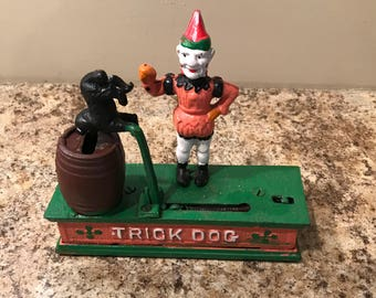 Vintage Antique Mechanical Bank, Cast Iron, Trick Dog