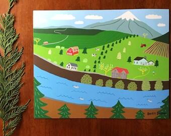 Farmscape - Art Print  - Wall Art - farm, mountain, mt hood, VW, country, PNW