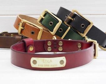 Dog Collar, Leather Dog Collar, Dog Collar Leather, Personalized Dog Collar, Handmade Dog Collar, Dog Collar Personalized, Dog Name Plate