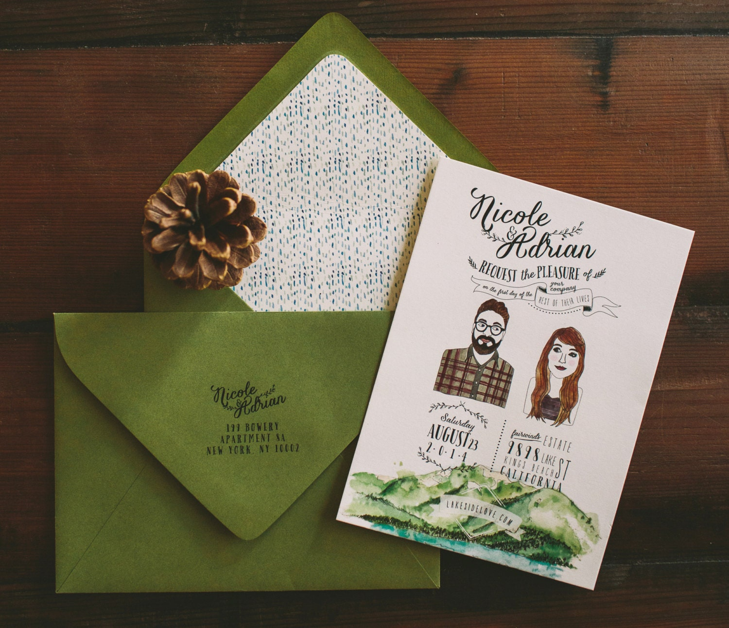 Lake Tahoe Wedding Invitation Custom Couple Illustration and