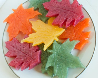 Party Favor soaps - Leaf Soaps - soap leaves - Fall soap - Autumn - rustic leaf soap - Fall wedding - Maple Leaf Oak Leaf - Wedding favor