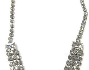 Vintage Elegant Sparkle Clear Rhinestone Triple Strand Art Deco Retro Choker Necklace