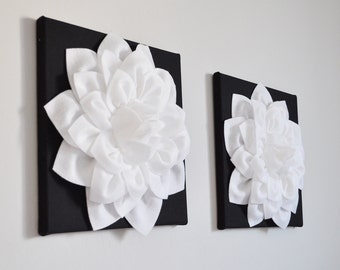 """TWO Flower Wall Hangings -White Dahlia on Black 12 x12"""" Canvas Wall Art- Black and White Wall Decor"""