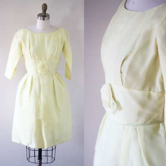 1960s yellow cupcake party dress // cocktail dress // vintage dress