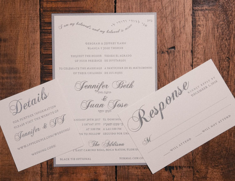 Bilingual Wedding Invitation Spanish & English Wedding
