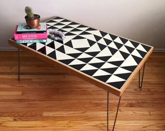Black And White Talavera Tile Childrenu0027s Table W/ Hairpin Legs