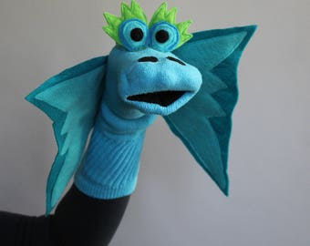 Designer Turquoise Dragon Sock Puppet with removable fire