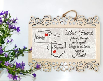 Long distance relationship gift, Long distance relationship frame, Best friend gift, Long distance gift, Friendship gift, Gift for friend