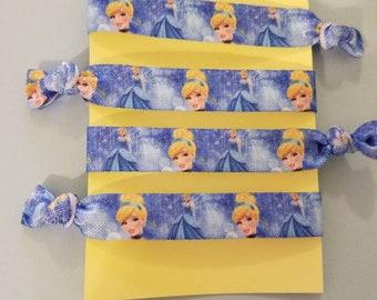 Set of 4 Cinderella elastic hair ties