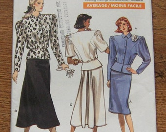 vintage 1987 vogue pattern 7011 misses women loose fitting blouson top  and straight skirt slightly flared back pleated sz 8-10-12 uncut