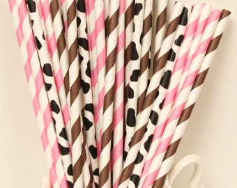 Paper Straws, MADE IN USA, Cowgirl Party Paper Straws, Pink Paper Straw, Cow Paper Straws, Farm Party, Baby Shower, Paper Goods, Table Decor