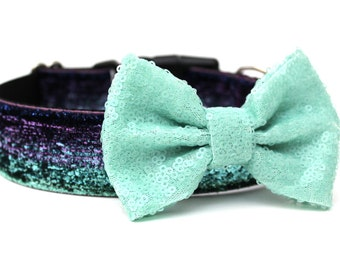 Dog Collar Bow Add-On Aqua Sparkle Bow for Dogs