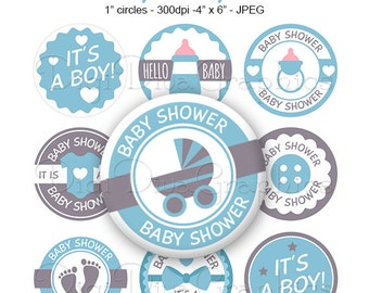 It's A Boy Baby Shower Bottle Cap Images Blue 1 Inch Circles Digital JPG - Instant Download - BC1155