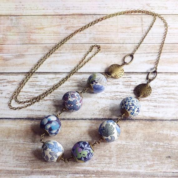 Liberty necklace, Boho necklace, Blue necklace, Textile beads, Textile jewelry, Blue jewelry, Boho chic jewelry, Liberty prints, Blue