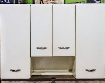 Vintage Metal Kitchen Cabinets Mid Century Modern Upper Cabinet LARGE STEEL  Cabinets Chrome Handles 1950s Kitchen