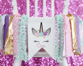 UNICORN HIGHCHAIR BANNER high chair banner first one birthday garland magical girl party