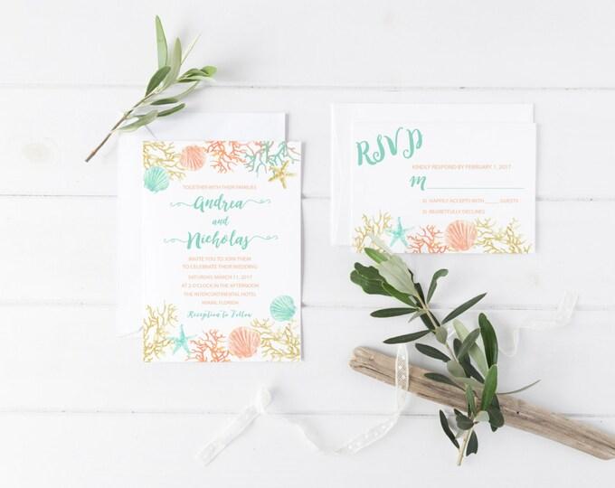 Beach Wedding Invitation, Destination Wedding Invitation, Tropical Wedding, Printable Wedding Invite, Turquoise Boho Beach Invite, Coral