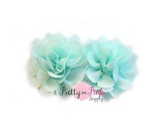 Light Aqua Mini Blossom Flower- Choose Quantity- Mini chiffon Flowers- Chiffon Flowers.Tulle Flowers...Small Flower