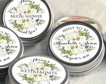 12 White Roses Personalized Mint Tins, Wedding Favor - Bridal Shower - Retirement Favor - Birthday Favor - Breath Mints - Party Favors