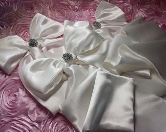 3 Large Gorgeous Elegant shiny satin short Bows with Bling for Baby Bedding and Accesories Handmade custom designed High Quality Beautiful
