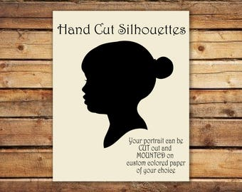 Custom Silhouette Portrait - Unframed WITH HANDWRITTEN TEXT - handmade - Cut Art - Trending Spring Gifts