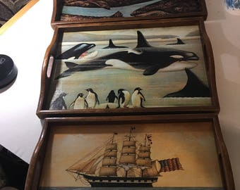 3 Nested Wood Trays with Laminated Whale Themed Art