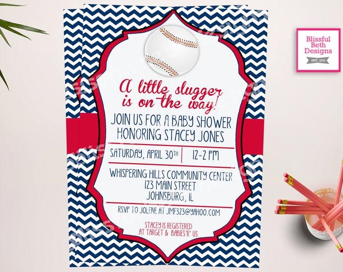LITTLE SLUGGER SHOWER, Baseball Themed Baby Shower Invitation, Baseball Baby Invitation, Little Slugger, Baseball Baby Shower Invitation