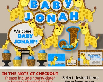 Blue Giraffe Baby Shower Decorations ...
