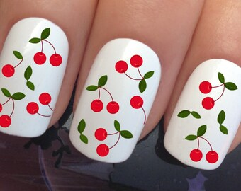nail art set #648 x12 fruity cherry stalks leaf water transfer decals stickers manicure set