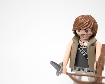 Walking dead's Daryl Dixon - Compatible - Handmade - Limited - TWD - Rick - Karl - Carol - Eugene - Neegan Playmobil customized