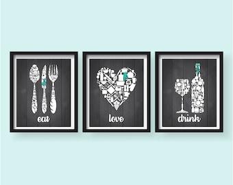 Spring Sale Eat Drink Love Teal Dark Grey White Kitchen Decor   Kitchen  Wall Art