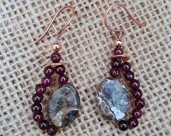 Fossil and Garnet Earrings