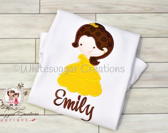 Cutie Princess as Belle the Beauty Personalized Shirt - Custom Girls Princess Outfit - Baby Girl Outfit