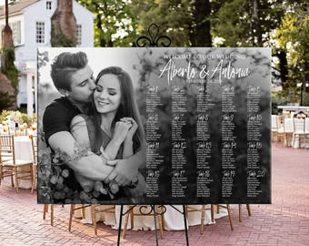 Wedding seating chart with photo, printable personalized photo wedding seating chart, table assignment Digital wedding photo seating plan