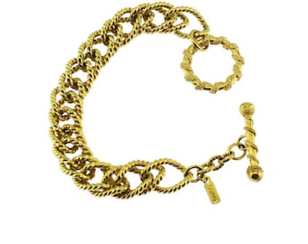 Alfred Sung Gold Chain Bracelet, Chunky Gold Bracelet, Chunky Gold Chain Bracelet
