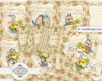 Flowers&Birds Yellow-Red Vintage Printable Journal Kit. Instant Download.