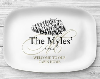 Personalized Pinecone Serving Platter, Melamine Cabin Home Platter, Melamine Platter, Custom Pinecone Serving Tray, Cabin Decor