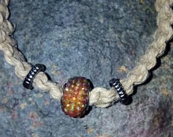 Bohemian hemp square knot iridescent bracelet.