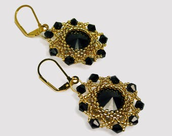 Gold Bead Earrings, Crystal Bridal Beadwoven Earrings, Seed bead Wedding Sparkly Earrings, Evening Statement Beaded Earrings, Bride Earrings