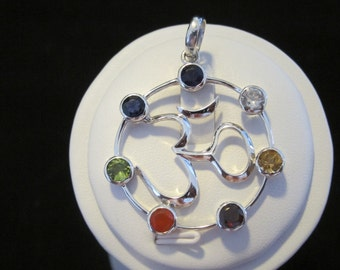 Multi Stone Chakra OM Sterling Silver Pendant (101)