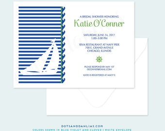 Nautical Bridal Shower Invitation, Engagement Dinner Invitation, Wedding Invitation, Retirement Party, Printed Invitations, DIY Printable