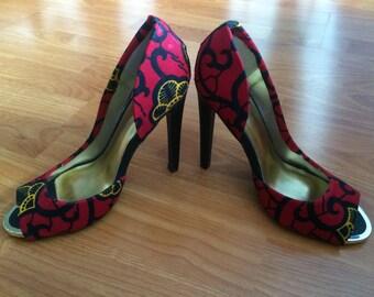 African Fabric Open Toe Heels