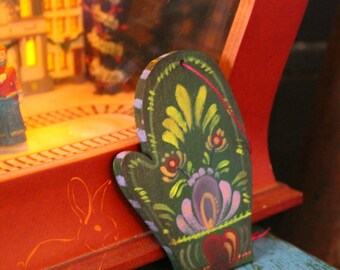 "Rosemaling Mitten Ornament ""Os""- Christmas Ornaments, Holiday Decor, Folk Art"