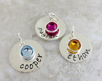 Personalized Name Charm - Hand Stamped Jewelry - Add ON with Bezel Wrapped Birthstone