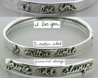 Personalized Handwriting Bracelet Bangle - Custom Memorial Bracelet - Memorial Signature Bracelet - Custom Silver personalized Bracelet