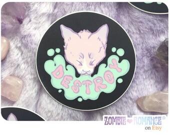 DESTROY Cat Vinyl Sticker