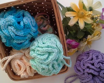 Cotton Bath Poufs, Bath Scrubber, Bath Puff, Cotton Loofah, Reusable Loofah, Soap Savers, Soap Sponge, Face Cloths, Spa Day, Friend Gift